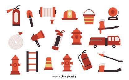 Conjunto de elementos planos de bombero