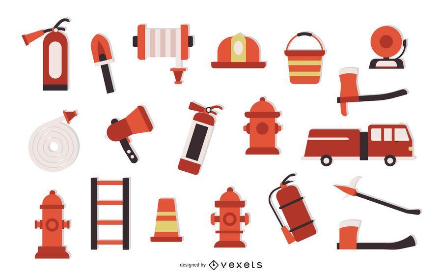 Firefighter Flat Element Set
