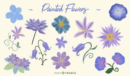 Conjunto de diseño de flores pintadas de color púrpura