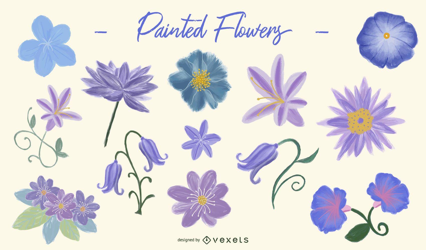 Purple Painted Flower Design Set