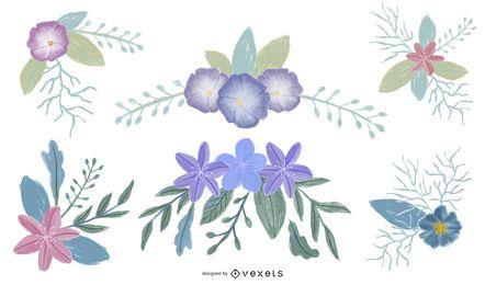 Conjunto de ilustraciones florales