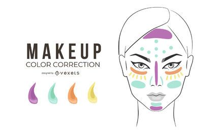 Ilustração de correção de cor de maquiagem