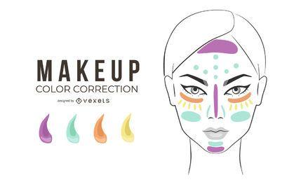 Ilustración de corrección de color de maquillaje