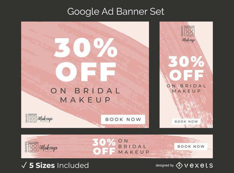 Makeup Artist Ad Banner Set Vector