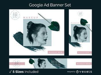 Maquillaje conjunto de banner publicitario de google