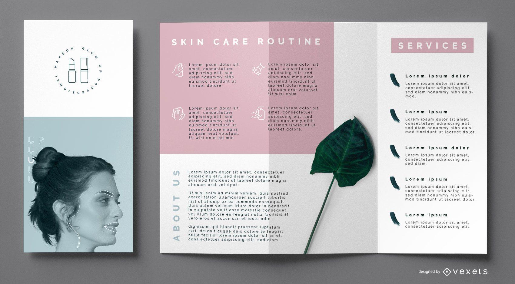 Plantilla de folleto de cuidado de la piel