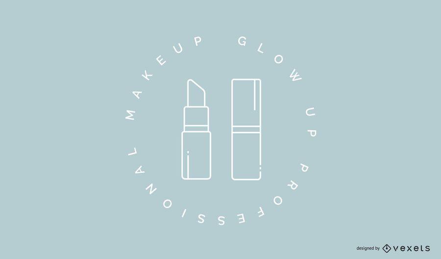 Plantilla de logotipo de lápiz labial de maquillaje