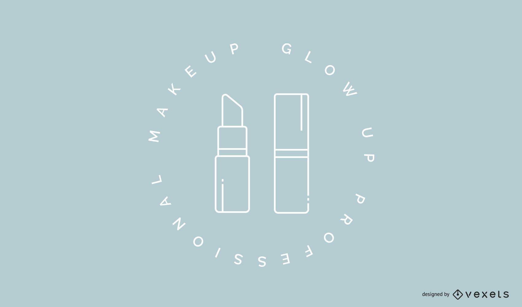Modelo de logotipo de batom de maquiagem