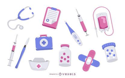 Conjunto de colores de elementos de medicina