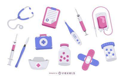 Medizin Elemente Farbsatz