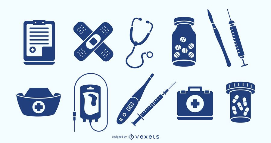 Conjunto de elementos de medicina azul