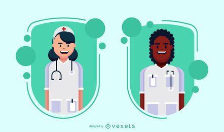 Conjunto de distintivo de caracteres médico