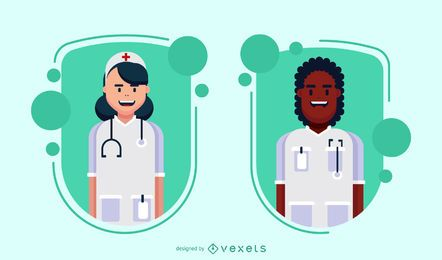 Doctor characters badge set
