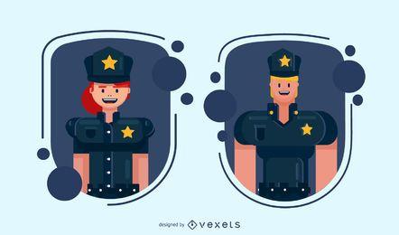 Conjunto de distintivos de caracteres de policiais