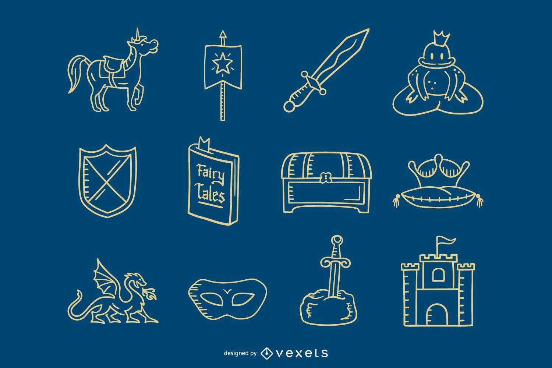 Colección de trazos de elementos de príncipe