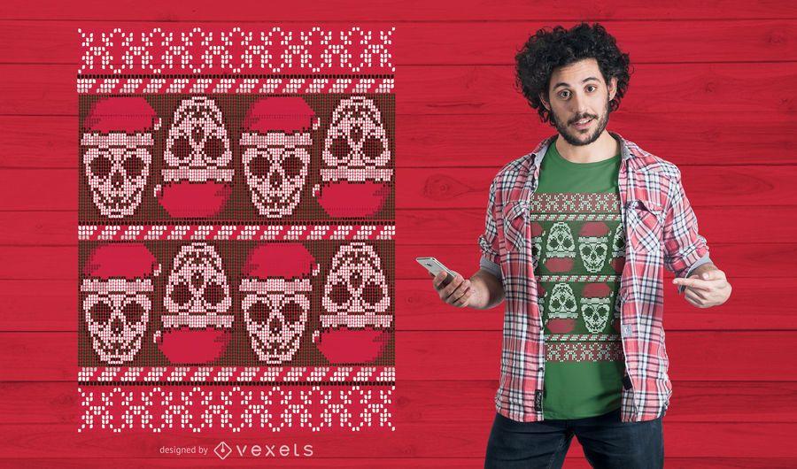 Ugly sweater skulls t-shirt design