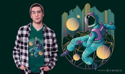 Design de camiseta techno astronauta