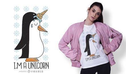 Design de camiseta de unicórnio pinguim
