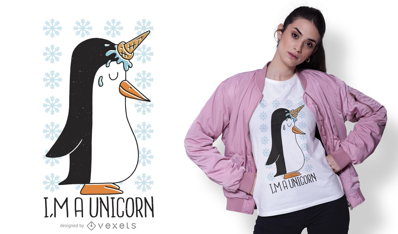 Penguin unicorn t-shirt design