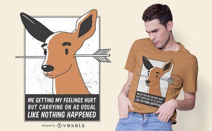 Design de t-shirt de cervos feridos de sentimentos
