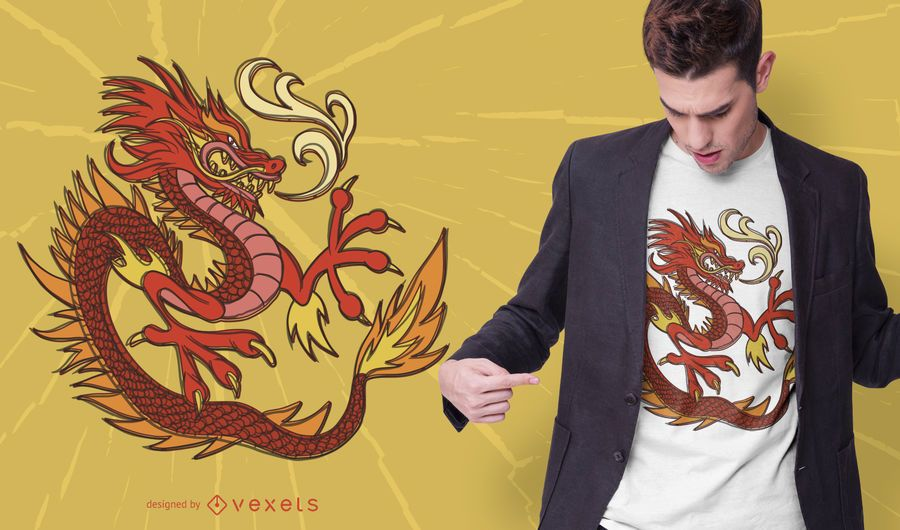 Fire dragon t-shirt design