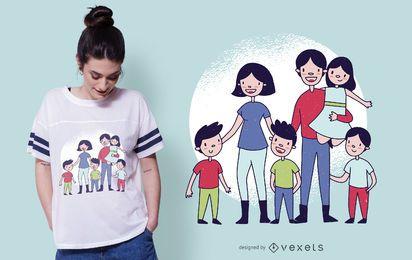 Projeto bonito do t-shirt da família