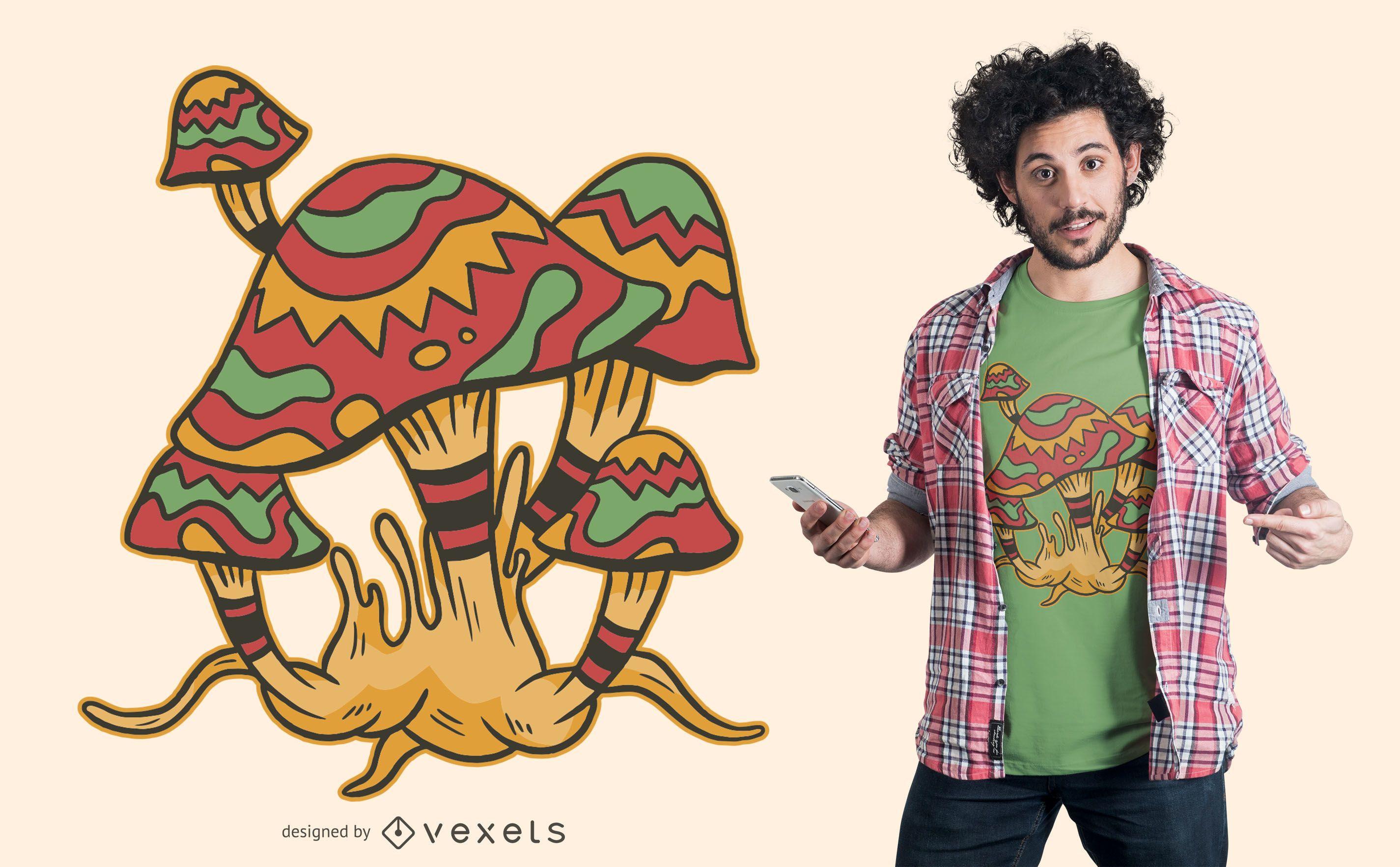 Design de camisetas de cogumelos mágicos