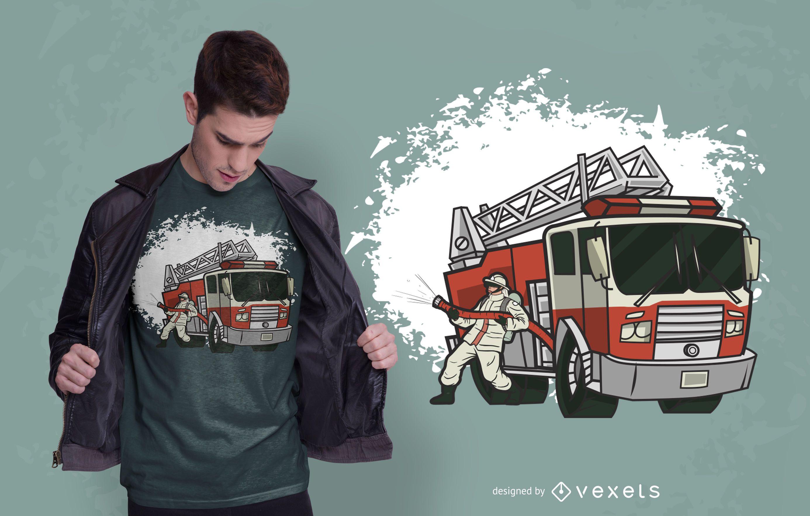 Design de camiseta de caminhão bombeiro