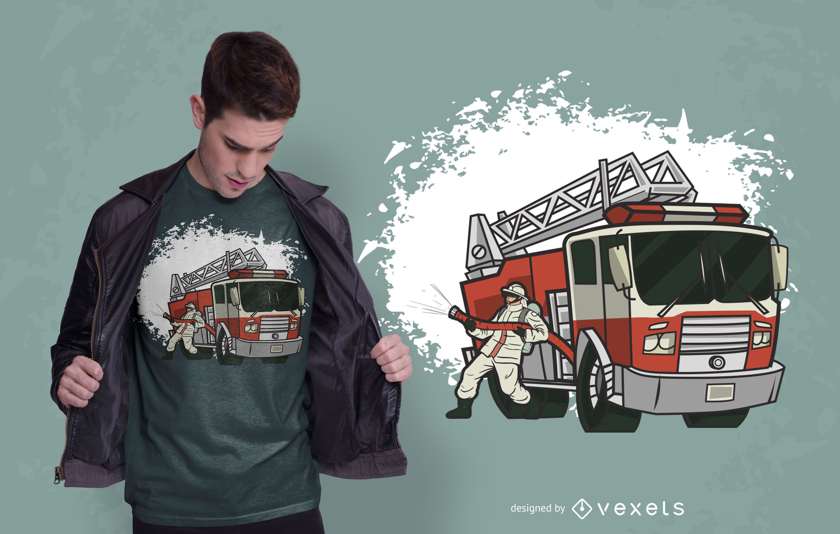 Diseño de camiseta de camión de bomberos.