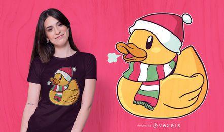 Diseño de camiseta de pato navideño
