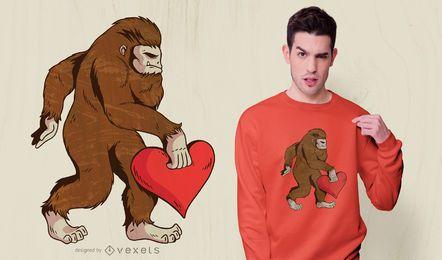 Diseño de camiseta de corazón Bigfoot