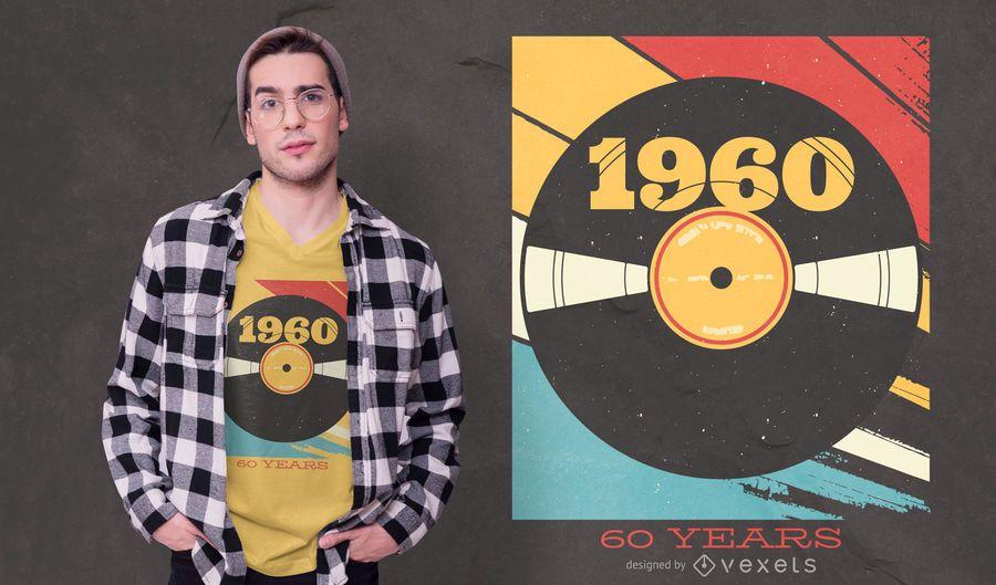 Diseño de camiseta editable años de Vynil