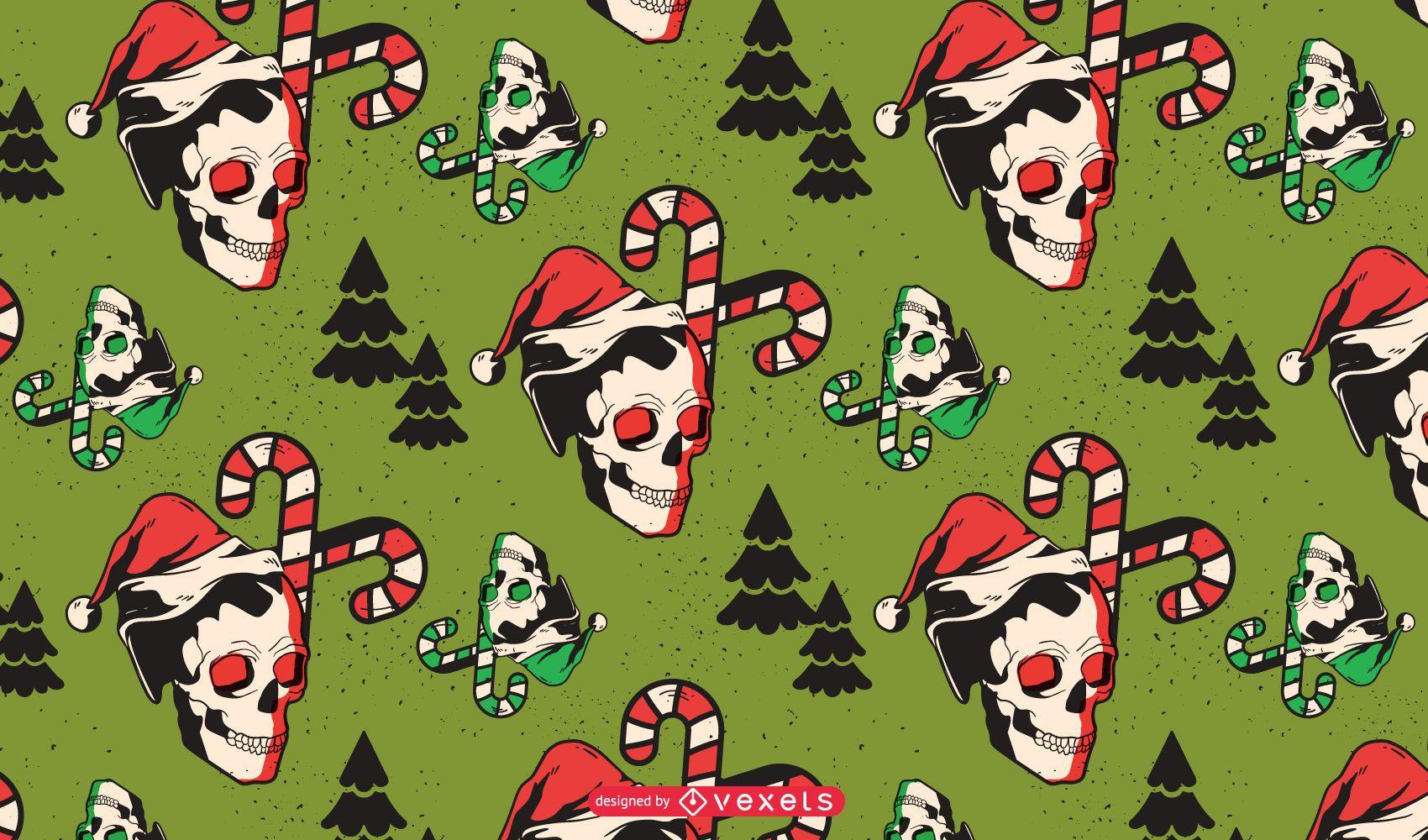 Diseño de patrón de calaveras navideñas