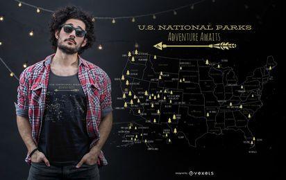 Design de t-shirt de parques nacionais dos EUA