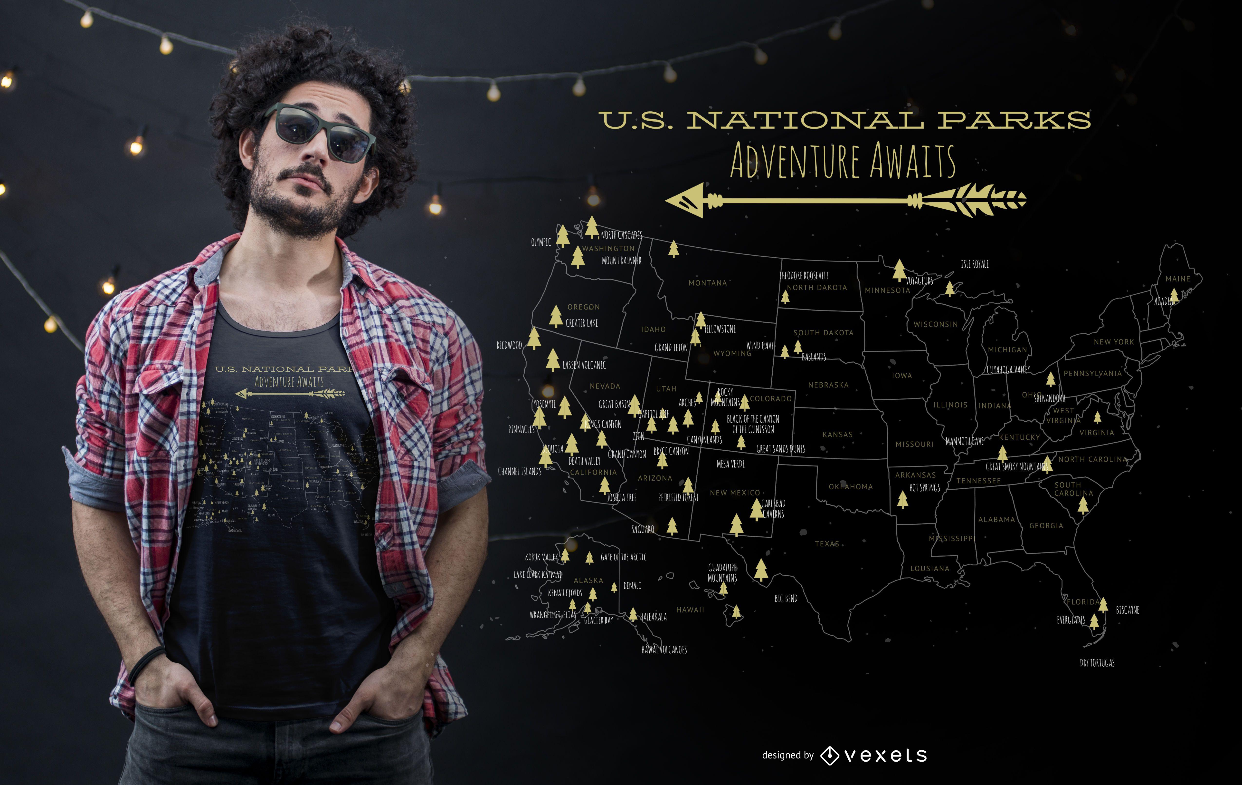 Design de camisetas para parques nacionais dos EUA
