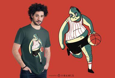 Design de camiseta para jogador de basquete com excesso de peso
