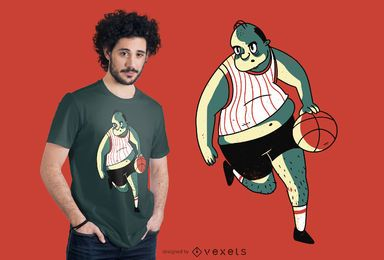 Overweight basket player t-shirt design