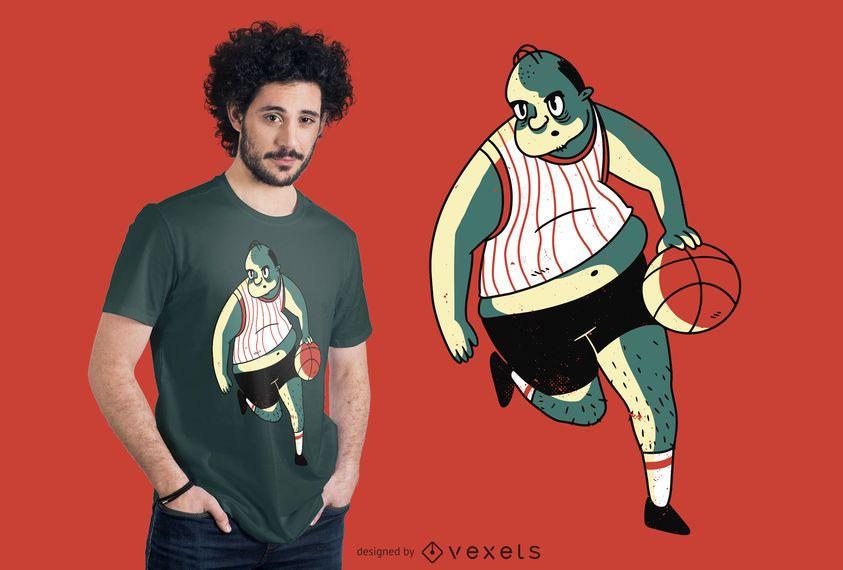 Overweight basket player t-shirt design