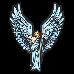Postura de ala de ángel plana
