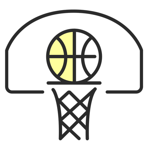 Baloncesto cesta tablero plano trazo Transparent PNG