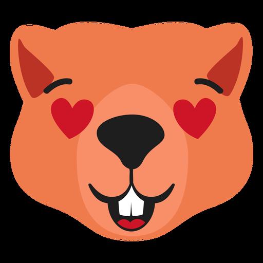 Beaver hocico enamorado pegatina plana Transparent PNG