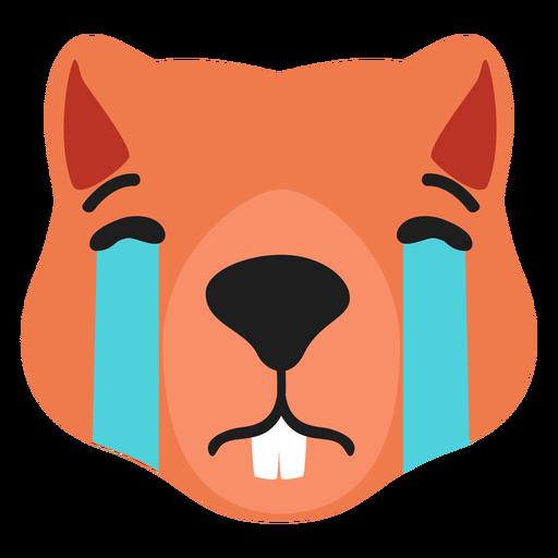 Beaver muzzle sad flat sticker Transparent PNG