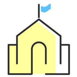 Edificio bandera trazo plano