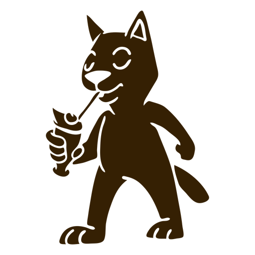 Cat cocktail detailed silhouette