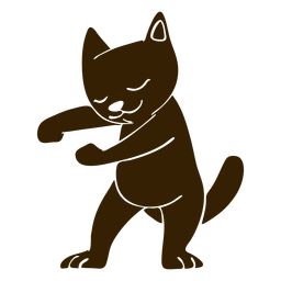 Cat dancing dance detailed silhouette