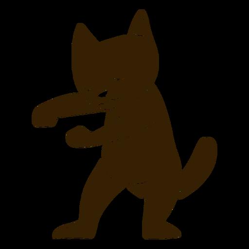 Cat dancing dance detailed silhouette