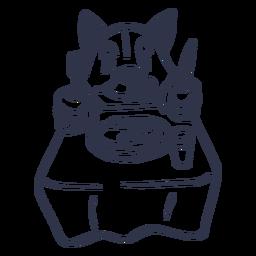 Trazo de mesa de plato de gato