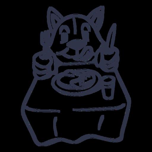 Cat dish table stroke