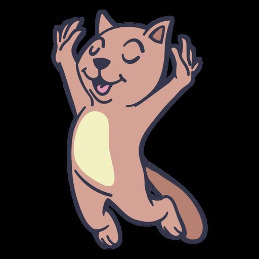 Gato saltando feliz trazo plano Transparent PNG