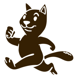 Gato correndo silhueta detalhada